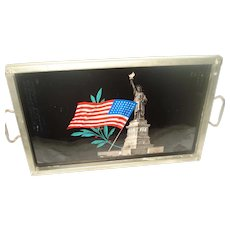 Vintage Statue of Liberty Flag Tray