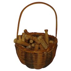 Vintage Basket with Wood Doll Clothespins