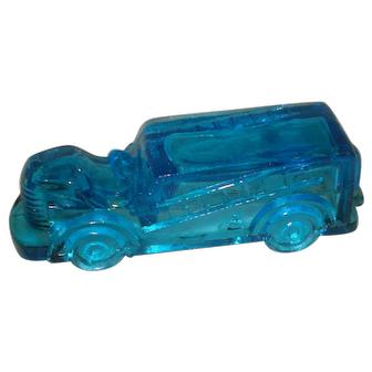 Blue Glass Firetruck Candy Container