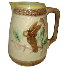 Majolica Pottery Pitcher with Bird