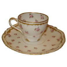 Haviland Limoges Porcelain Demi Set Cup & Saucer