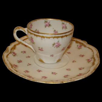Haviland Limoges Porcelain Demi Set Cup & Saucer