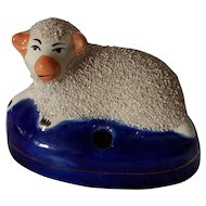 Staffordshire Pottery Lamb Inkwell