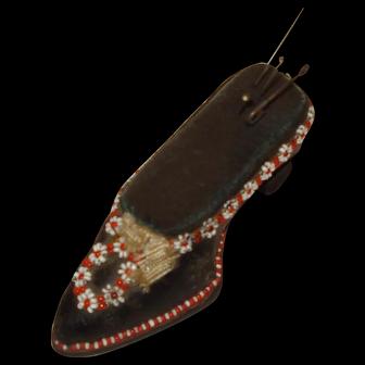 Vintage Leather Shoe Beaded Pin Cushion