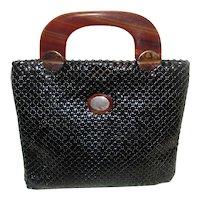 Vintage Whiting Davis Black Mesh purse w/ Lucite Handle
