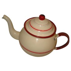 Cream & Red Graniteware Tea Pot