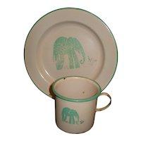 Nice 2 piece Enamelware with Elephant