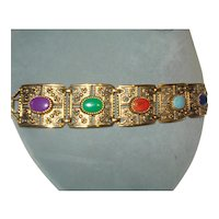 Sarah Coventry Etruscan Revival Style Panel Bracelet