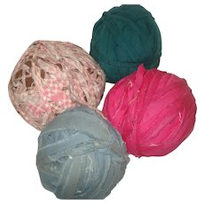Four Vintage Fabric Rag Balls