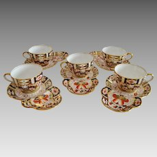 Set of 5 Cup and Saucers ~ Imari 5500 Pattern ~ Aynsley Bone China England ~ Stoke on Trent Prior to 1891