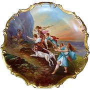 "Astonishing 15 1/2 "" Limoges Porcelain Plaque  ~ Hand Painted Allegorical Scene~ Artist is depicting ""Diana And Her Nymphs"" Hunting Bear  and Boar. ~ Signed Dubois ~ Lazeyras Rosenfeld & Lehman  early 1900's."