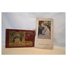 1886 Autograph Album with Gypsy ( To Mary Rushville Mo)  & The Beauty of Friendship book by Woolard