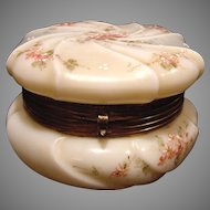 """Wavecrest Large 6"""" Wide Swirl Apple Blossom Opal Glass Dresser Box ~ Hand Painted with Pink Flowers ~ C F Monroe Co Late 1800's"""