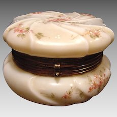 "Wavecrest Large 6"" Wide Swirl Apple Blossom Opal Glass Dresser Box ~ Hand Painted with Pink Flowers ~ C F Monroe Co Late 1800's"