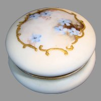 "Unique Limoges Porcelain Pin box 2 ¼"" w Hand Painted with Blue Flowers ~ Bawo & Dotter Elite Limoges France 1896-1900"