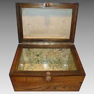 Humidor or Tea Caddy  ~Handsome Red Oak ~ Glass & Earthenware Lined ca 1900's