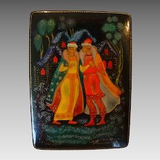 Beautiful Miniature Russian Lacquer ~Papier Mache~ Miniature Box ~ 1973 ~ Palekh Style ~ Artist Signed