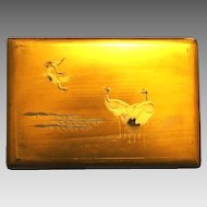 Breathtaking Gold Makie Lacquer Box with Key~ Red Headed Cranes ~  Japan 1891+