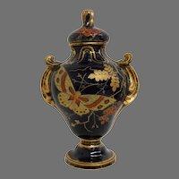 "Cobalt Blue Faience Covered Urn / Vase ~11"" Tall ~ Japanesque Dragonfly / Butterfly Coralene ~ Hautin & Boulanger (Or Boulenger) - H.B. & Cie  Choisy Le Roi  FRANCE 1836-1930"