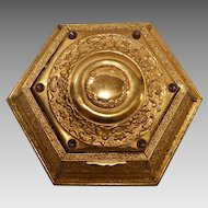 Jeweled Jewelry / Trinket Metal Box ~  6 Sided ~ Embossed with Flowers and Scrolls ~ 6  Amethyst colored Cabochon