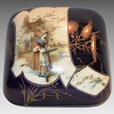 Antique French Faience Dresser or Trinket Box ~ Maiden Carrying Flowers ~ Cobalt ~ H Boulenger & CO Choisy Le Roi France 1890 – 1930