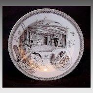 Remarkable Earthenware Bowl ~ Brown Transferware ~ Shakespeare & Hathaway ~ Wallis Gimson & Co 1884-1890