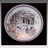 Remarkable Earthenware Bowl ~ Brown Transferware ~ Shakespeare & Hathaway ~ Wallis Gimson & Co 1884-1890