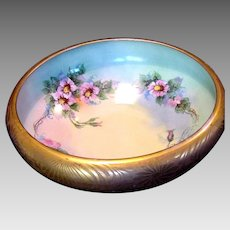 Astonishing 10 1/2'' Porcelain Bowl ~ Rivir Studio ~ Gold Encrusted outside and Hand Painted Roses inside~ Bavaria 1922-1930