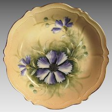 """Attractive Austrian Porcelain Bowl ~ Hand Painted with Purple Clematis ~ Artist Signed """"Jos Lycett""""~ Oscar & edger Gutherz"""