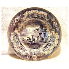 "Amazing 11 ½"" W English Blue & White Transferware Bowl ~ ""Damascus"" pattern by William Adams & Sons ~ Tunstall England (1829-1861)"