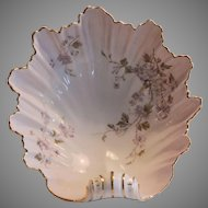 Large Shell shaped bowl  10'' long. Handpainted, C.T Germany circa 1875-1934.