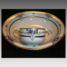 Nice Pair! Limoges Porcelain Bowl and Two Handled Cup ~ Hand Painted with Purple Asters ~ Artist Signed ~ Haviland France / Mutual China Co. 1893-1935