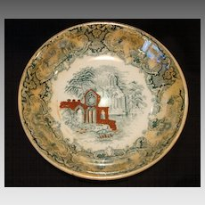 """Nice Finger or Berry Bowl Decorated with Green Transfer and a """"Abbey"""" Church Scene ~ PETRUS REGOUT (Maastricht, Holland) 1914"""