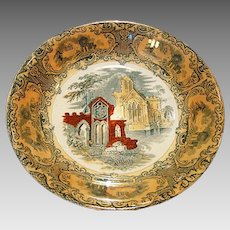 """Beautiful 8"""" Serving Bowl ~ Decorated with Green Transfer and  """"Abbey"""" Church Scene ~ PETRUS REGOUT (Maastricht, Holland) 1914"""