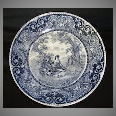 Nice Blue English Earthenware Transferware Bowl or Large Saucer ~ Courtship Scene ~ Rowland & Marcellus Staffordshire England 1860-1900