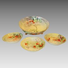 Awesome Footed Limoges Porcelain Master Serving Bowl with Berry Bowls~ Hand Painted with Red Raspberries, Strawberries & Currants ~ Artist E. Wright Signed ~  A. Klingenberg /Dwenger Haviland Limoges France
