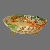 Awesome Footed Limoges Porcelain Serving Bowl ~ Hand Painted with Strawberries ~ Tressemann & Vogt ( T&V ) Limoges France 1892 - 1907
