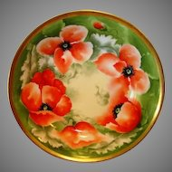 "BEAUTIFUL Limoges Porcelain Master Serving Bowl ~ Hand Painted with Orange & White Poppies ~ Artist Signed ""Alice"" ~ MAVALEIX / George Borgfeldt CORONET Limoges France1908-1914"