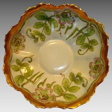 Gorgeous Limoges Porcelain Blown Out Bowl ~ Hand Painted with Stylized Art Nouveau Pink Poppies ~  Artist Signed ~ Bawo & Dotter Elite Works Limoges France 1900-1914