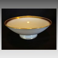 Elegant Pickard Decorated Porcelain Footed Bowl~ Hand Painted with Gold and Black Geometric Design ~ Pickard Studios Chicago IL 1912-1919
