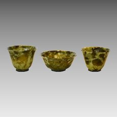 (3)  Beautiful Set ~ Green Chinese Hard Stone ( Serpentine ) Tea Bowls