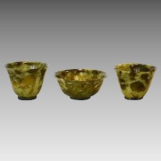 (3) Beautiful Set ~ Green Chinese Hard Stone ( Serpentine ) Tea Bowls