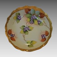 "Beautiful Bowl ~ Limoges Porcelain ~ Pickard Studio ""BLUEBERRIES"" by ANTON BEUTLICH ~ Charles Ahrenfeldt Limoges France  1894-1930"