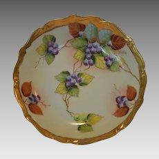 "Beautiful Bowl ~ Limoges Porcelain ~ Pickard Studio ""BLUEBERRIES"" by ANTON BEUTLICH ~ Charles Ahrenfeldt Limoges France  1894-1930"