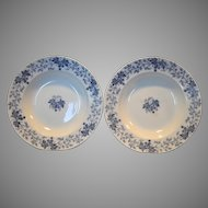"2 ~9 1/2"" W Soup Bowls~ Nice French Blue Faience Blue Leave & Vines ~ Houblon pattern ~ UTZCHNEIDER & CO (Sarreguemines, France) - ca 1900"