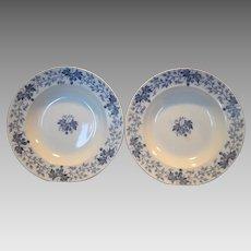 """2 ~9 1/2"""" W Soup Bowls~ Nice French Blue Faience Blue Leave & Vines ~ Houblon pattern ~ UTZCHNEIDER & CO (Sarreguemines, France) - ca 1900"""