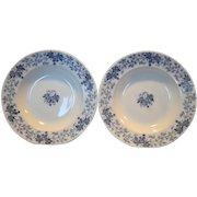 """2 ~Nice French Blue Faience 9 1/2"""" W Soup Bowls~ Blue Leave & Vines ~ Houblon pattern ~ UTZCHNEIDER & CO (Sarreguemines, France) - ca 1900"""