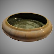 "Amazing 11"" Fulper Bowl ~Cream Flambé and Green Crystalline Glaze~ Fulper Art Pottery ~ Flemington, New Jersey 1906-1916"