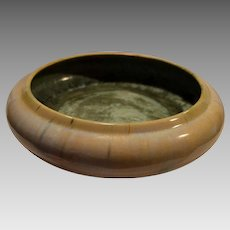"Amazing 11"" Fulper Bowl ~Cream Flambé and Green Crystalline Glaze~ Fulper Art Pottery ~ Flemington, New Jersey 1906-1916"