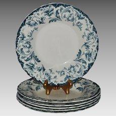 "6 Beautiful Semi Porcelain 9"" Bowls ~ Blue Green Poppies ~ Ophir pattern ~ William Hulme North Burslem Staffordshire England 1891-1936"